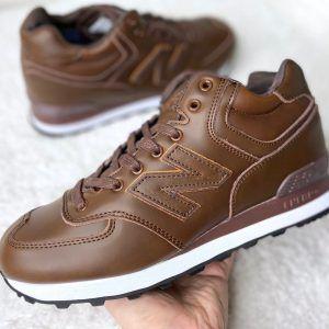 Кроссовки New Balance 574 коричневые кожаные высокие с мехом Орех