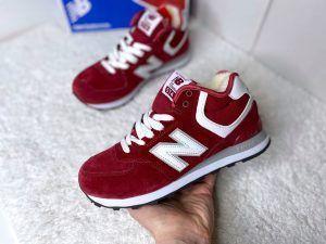 Женские кроссовки New Balance бордовые высокие