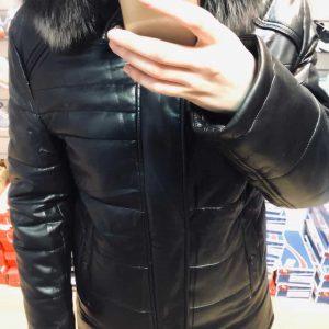 Мужская зимняя куртка с мехом черная (экокожа)