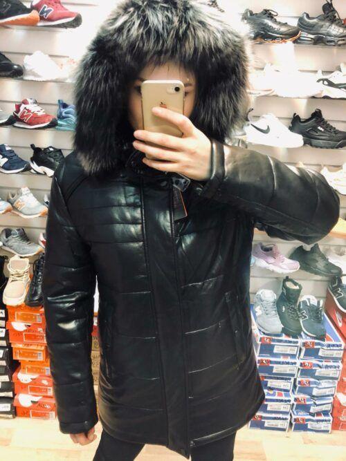 Мужская куртка кожаная с мехом
