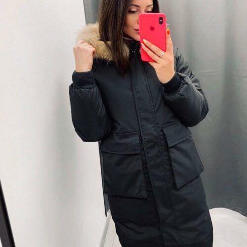 черная женская зимняя куртка