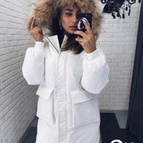 Зимняя куртка женская белая с карманами СПб