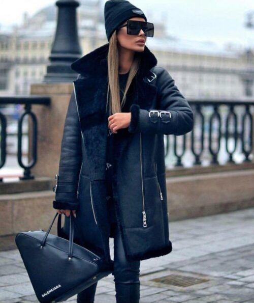 Женская куртка черная удлиненная