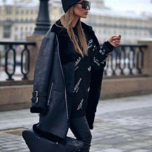 Куртка черная женская удлиненная