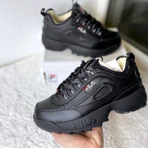 Кроссовки Fila Disruptor черные с мехом