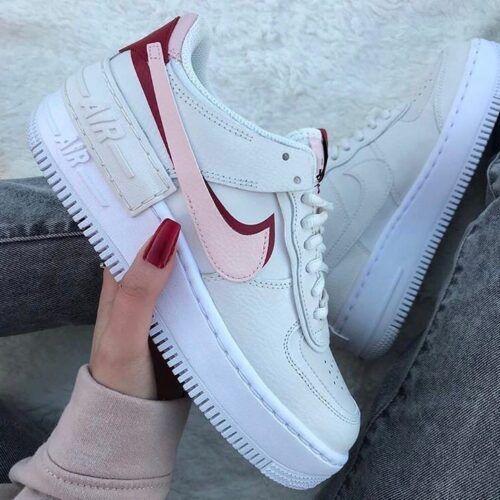 Кеды Nike Air Force Shadow New белые с розовым