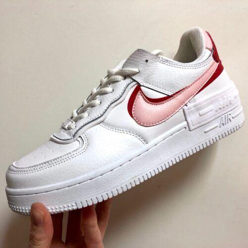 Кеды Nike Air Force Shadow белые с розовым