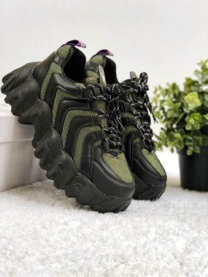 Кроссовки Eytys Halo черные с зеленым