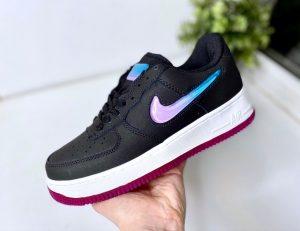 Кроссовки Nike Air Force черные с сиреневым