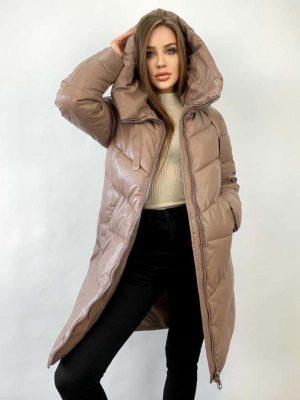 Куртка экокожа бежевая с капюшоном