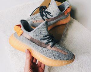 Кроссовки Adidas Изи 350 серые с оранжевым