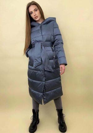 Женская куртка длинная голубая и серая Эсмеральда
