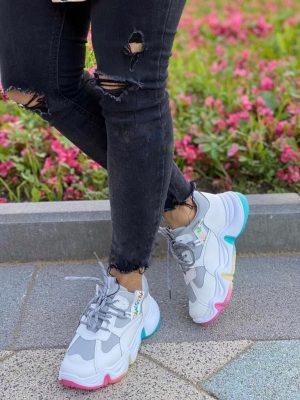 Кроссовки белые на платформе с цветной подошвой Twiks