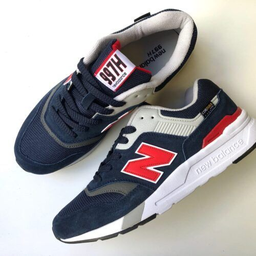 Кроссовки NB мужские темно-синие с красным на платформе