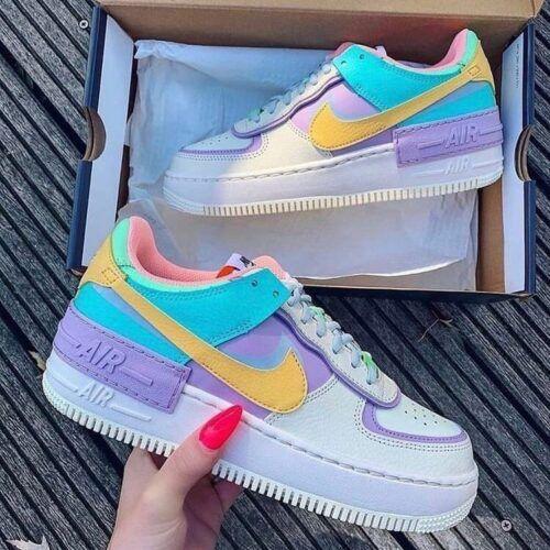 Кеды-кроссовки Nike Air Force Shadow New бежевые с