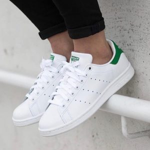 Кроссовки Adidas Stan Smith белые с зеленым задником