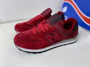 Красные кроссовки NB из натуральной замши