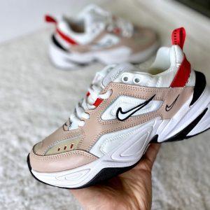 Кроссовки Nike M2K Tekno бежевые с красным