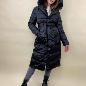 Женская куртка длинная черная Эсмеральда