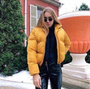 """Куртка женская демисезонная """"дутая"""" желтая"""
