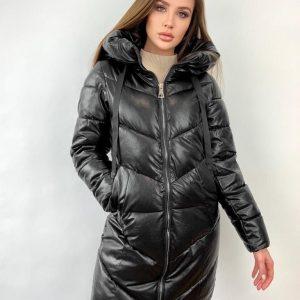 Куртка женская черная экокожа с капюшоном