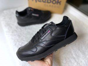 Кроссовки Reebok classic черные из мягкой кожи