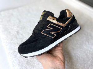 Женские кроссовки New Balance 574 черные с золотом