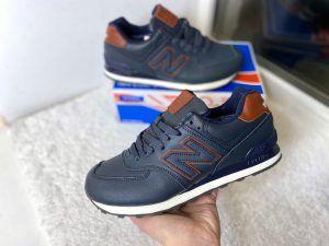 Кроссовки New Balance 574 синие с коричневым кожаные с мехом