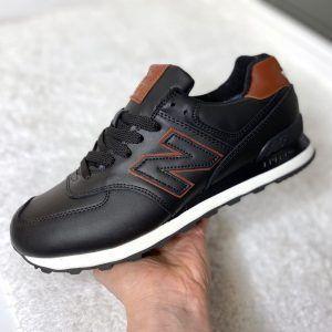 Кроссовки New Balance 574 Spase с мехом черные с коричневым