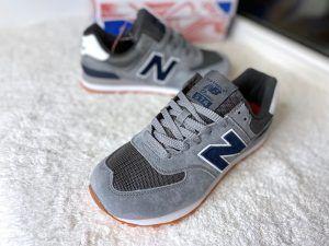 Кроссовки New Balance 574 серые c синим