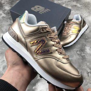 Женские кроссовки New Balance 574 золотые