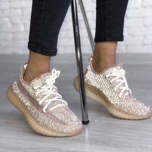 Кроссовки Adidas Изи 350 рефлективные пудра