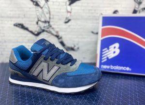 Кроссовки NB 574 синие с серым с голубым