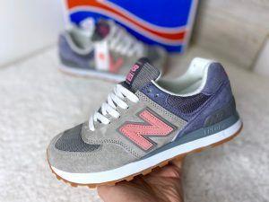 Женские кроссовки New Balance 574 серые с фиолетовым