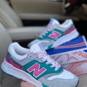 Кроссовки New Balance 997 белые с изумрудным