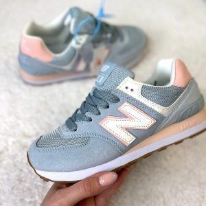Кроссовки New Balance 574  голубые c розовым