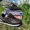 Кроссовки Нью Баланс 574 темно-коричневые кожаные