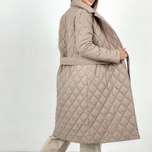 Пальто стеганое демисезонное бежевое