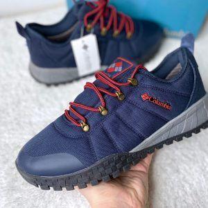 Кроссовки Columbia непромокаемые синие с красными шнурками